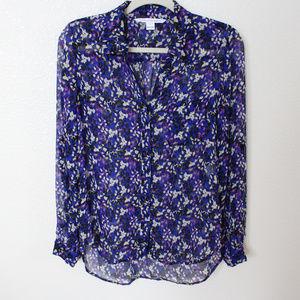 DIANE VON FURSTENBERG Sheer Multi-Color Silk Top